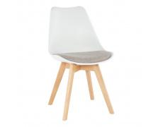 Židle, bílá / šedě béžová, DAMARA