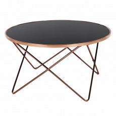 Konferenční stolek, rose gold chrom růžová/černá, ROSALO
