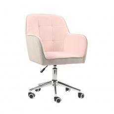 Kancelářské křeslo, Velvet látka růžová/šedá, FELTON