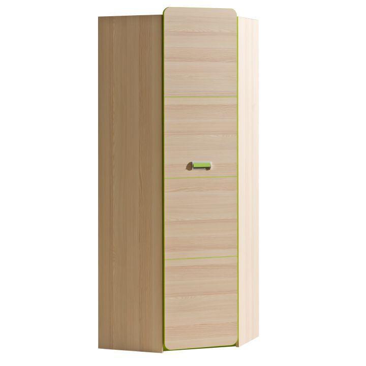 Rohová skříň, věšáková, jasan/zelená, EGO L14