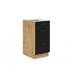 Spodní skříňka se zásuvkami, černý mat / dub artisan, Monro 40 D 3S BB