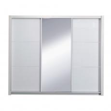 Skříň s posuvnými dveřmi, bílá / vysoký bílý lesk, 258x213, ASIENA