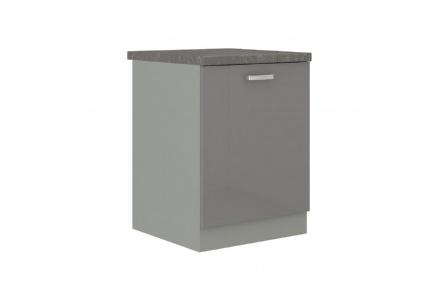 Skříňka dolní, šedá vysoký lesk / šedá, PRADO 60 D 1F ZB