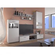 Obývací stěna, bílá / beton světlý, BREAK