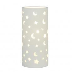 Keramická stolní lampa, bílá / vzor měsíc a hvězdy, DANAR