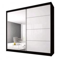 Skříň s posuvnými dveřmi, černá / bílá, 183x61x218, MULTI 35