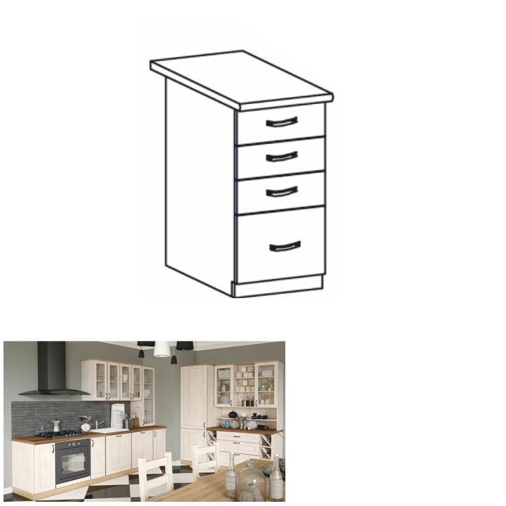 Spodní šuplíková skříňka, bílá/sosna skandinávská, ROYAL D40S