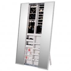 Zrcadlo s úložným prostorem na bižuterii, bílá, ONEON