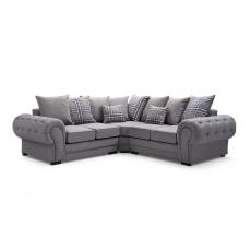 Univerzální rohová sedačka, šedá / vzor, MOLA