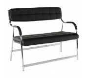 2-místná lavice do čekárně, černá / chrom, ILKIN