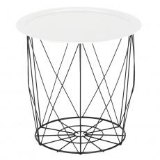 Příruční stolek, bílá/černá, SALERO
