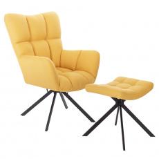 Designové otočné křeslo s podnoží, žlutá / černá, KOMODO TYP 2