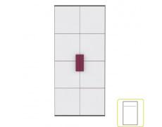 Skříň věšáková, šedá / bílá / fialová, LOBETE S82