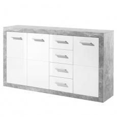 Komoda, bílý lesk/šedý beton, SLONE 3
