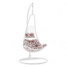 Závěsné křeslo, bílá/vzor květiny, KALEA NEW