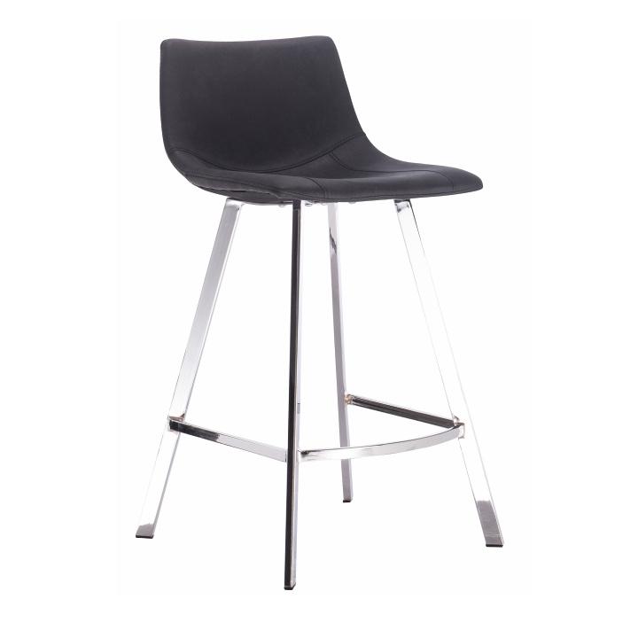 Barová židle, černá látka s efektem broušené kůže, Deron
