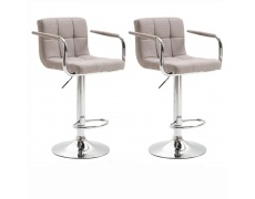 2 kusy, Barová židle, šedohnědá taupe látka / chrom, LEORA 2 NEW