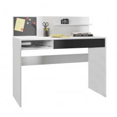 PC stůl, bílá/černá, IMAN