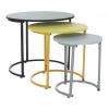 Set tří příručních stolků, černá/žlutá/šedá, RONELT NEW