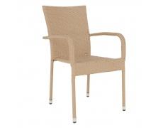 Zahradní stohovatelná židle, světlehnědá, VIPANA