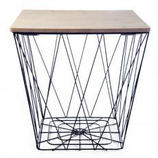 Příruční stolek, přírodní/černá, AZURO