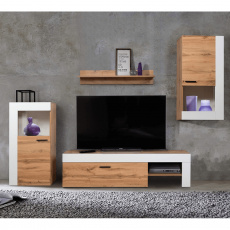 Obývací stěna, dub wotan / bílá, PLATINUM