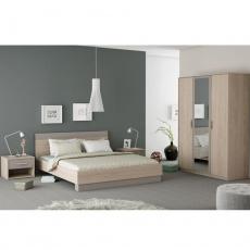 Ložnicový komplet (skříň + postel + 2x noční stolek), dub arizona / šedá, GRAPHIC