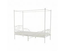 Kovová postel s nebesy, bílá, 90x200, ADELISA