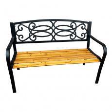 Zahradní lavička, černá / přírodní, ROTINA NEW