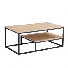 Konferenční stolek, dub světlý / černá, LARON