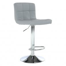 Barová židle, ekokůže šedá / chrom, KANDY NEW