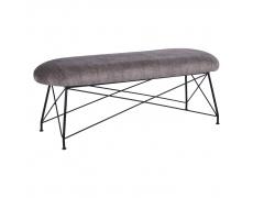 Designová lavice, hnědá látka/černý kov, RIVOLA