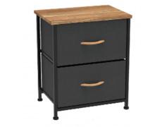 Komoda / noční stolek s látkovými šuplíky, černá / červený javor, KESIDY TYP 1