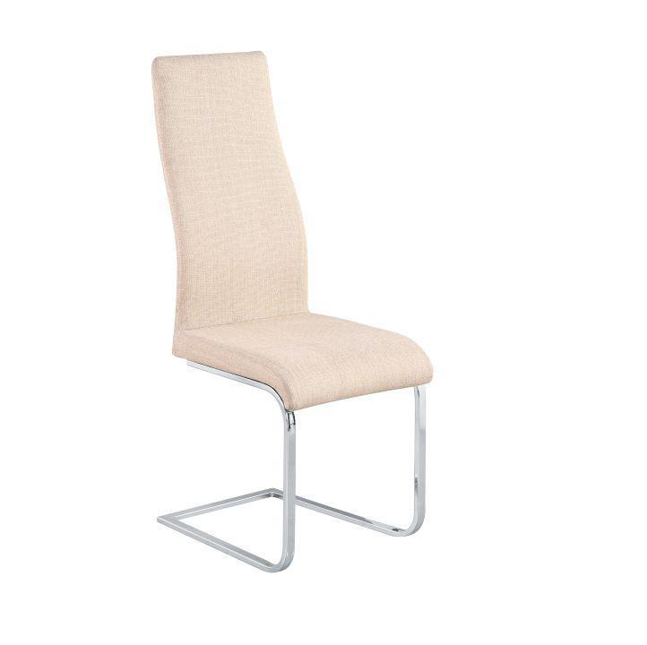 Jídelní židle, látka + chrom, béžová, AMINA