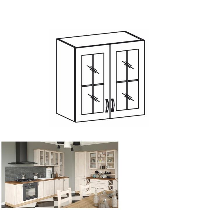 Horní skříňka se sklem, bílá / sosna skandinávská, ROYAL G80S