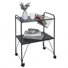 Příruční stolek pojízdný, víceúčelový, kov / plast, černá, KORETE