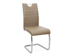 Jídelní židle, ekokůže cappucino, světlé šití / chrom,ABIRA NEW