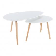 Set 2 konferenčních stolků, bílá / buk, FOLKO NEW