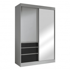 Skříň s posuvnými dveřmi, šedá/černá, 140, ROMUALDA