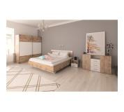 Ložnicový komplet (postel 160x200 cm), dub wotan / bílá, GABRIELA
