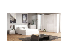 Ložnicový komplet, bílá / extra vysoký lesk HG, ITALIA NEW