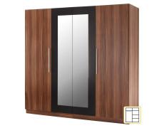 Čtyřdveřová skříň, zrcadlová, ořech / černá, MARTINA