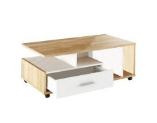 Konferenční stolek, bílá/dub sonoma, DECHEN