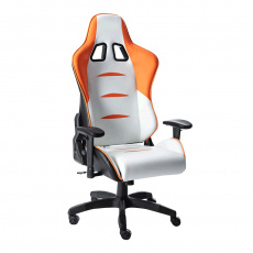 Kancelářské / herní křeslo, bílá / oranžová / černá, ASKARE