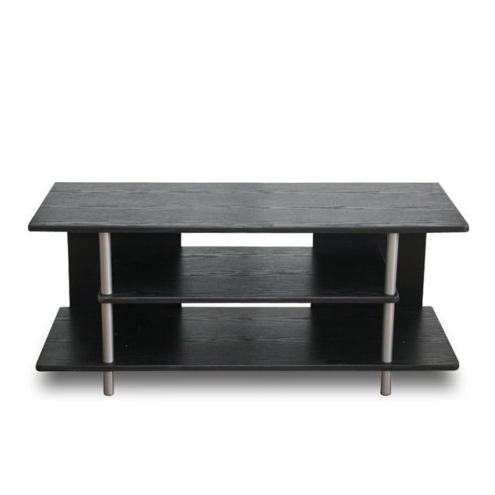 TV stolek, dřevo černé/kov stříbrný, QUIDO