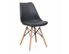 Tmavě šedá / buková stolička, KEMAL
