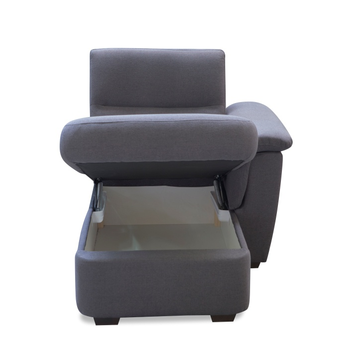 Otoman s úložným prostorem, šedá látka, na objednávku, pravá, BORN OTT 1B ZP