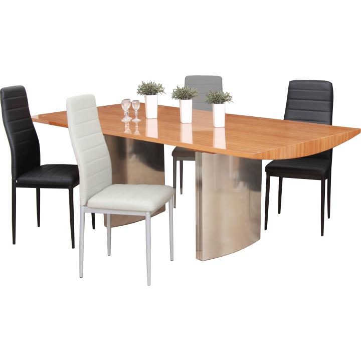 Jídelní stůl, 200x100, MDF Buk + kov, Madur