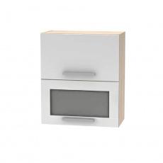 Horní výklopná skříňka se sklem 2DV, dub sonoma / bílá, NOPL-009-OH