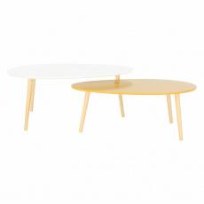 Set 2 konferenčních stolků, bílá HG / žltomedová HG, DOBLO